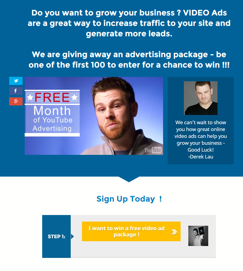 YT Video Ads Contest Landing Page image